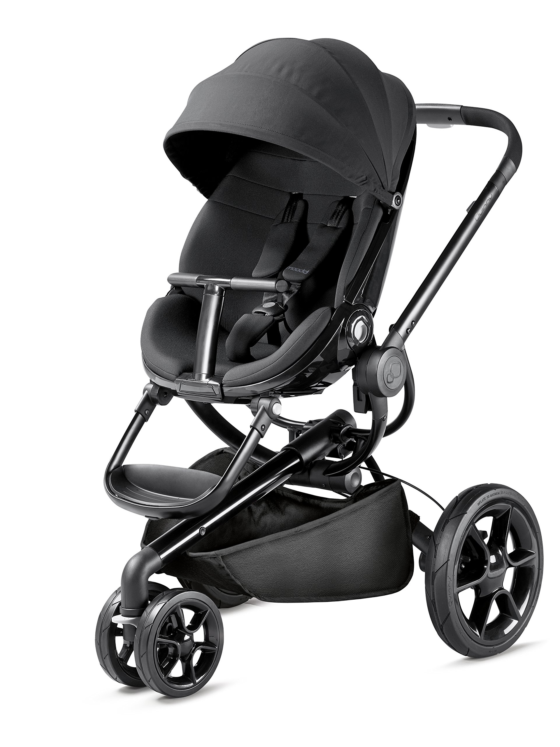 Quinny Moodd Pushchair Frame, Black Devotion Maxi-Cosi Stylish urban pushchair with cozy baby nest - suitable from birth to 15 kg (approx. 3.5 years) Foam filled comfort tyres and lockable front swivel wheels for a smooth ride Reversible seat unit with 3 recline position (including lie-flat options for newborns) 1