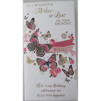 Mother In Law Birthday Card With Cream Envelope Amazon