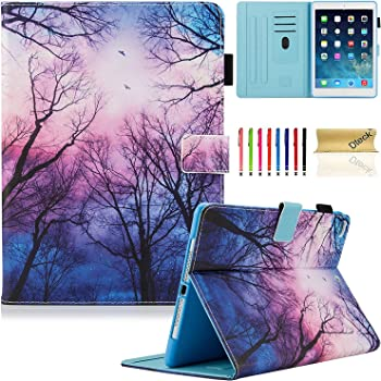 New iPad 2017 9.7 Inch Case/iPad Air 1st / 2rd Generation Case, Dteck PU Leather Smart Multi-Angle Stand Protective Cover Auto Wake/Sleep Case for iPad 2017 9.7 Inch, iPad Air 1 2, Forest Night