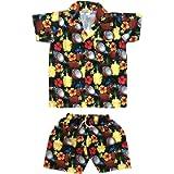 CLUB CUBANA Kids Boys Girls Childrens Slim Fit Classic Short Sleeve Casual Floral Hawaiian Shirts and Shorts Set