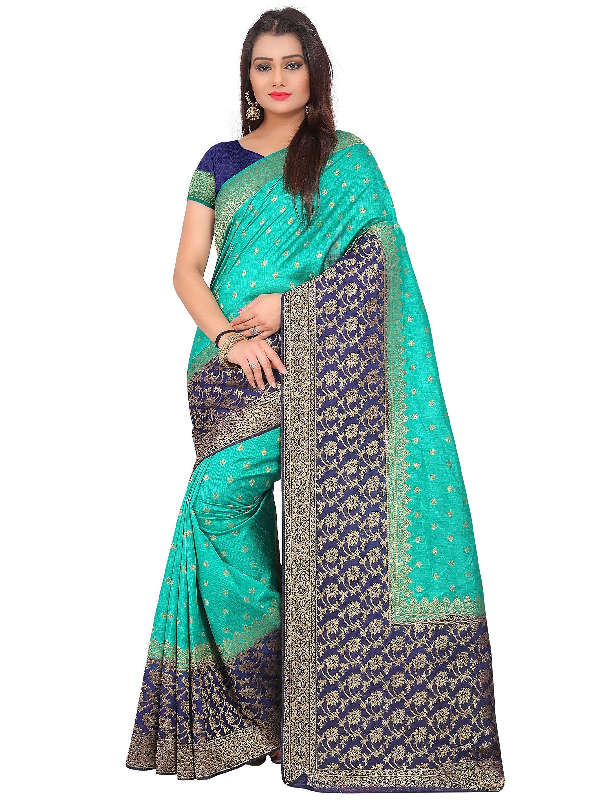 7eba29da5e Mahi Creation raw Silk Saree with Blouse Piece (Green Free Size ...