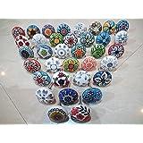 Mix van keramische knoppen in vintage-look, bloemendesign, handgrepen voor deuren, kasten, laden, 20 stuks
