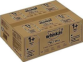 Whiskas Katzenfutter 1+ für erwachsene, verschiedene Sorten in Sauce, 84 Portionsbeutel (84 x 100 g)