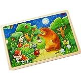 Holzpuzzle Nachtwächterbär | Bärenstarkes Kinderpuzzle und Motorikspielzeug ab 3 Jahren | Prima Geschenkidee