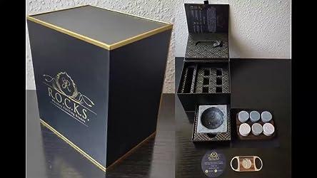 Juego de Regalo de Piedras de Whisky con Cortador de Puros y Cenicero - Bandeja de Presentación y Almacenamiento - Caja de Regalo de Papel de Oro de ...