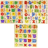 WISHKEY 3D Wooden Capital & Small Alphabet Along with Number Board Puzzles,Set of 3 Montessori Educational Learning Letters T