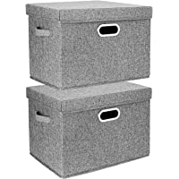 TYEERS 2 Pack Boîtes de Rangement Pliables avec Couvercle et Poignées, Caisse de Rangement pour Vêtements en Tissu…