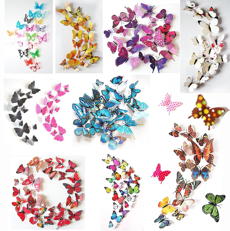 3D Schmetterlinge Blumen 12er Set Dekoration Wandtattoo (Alive  (pink Lila)): Amazon.de: Küche U0026 Haushalt