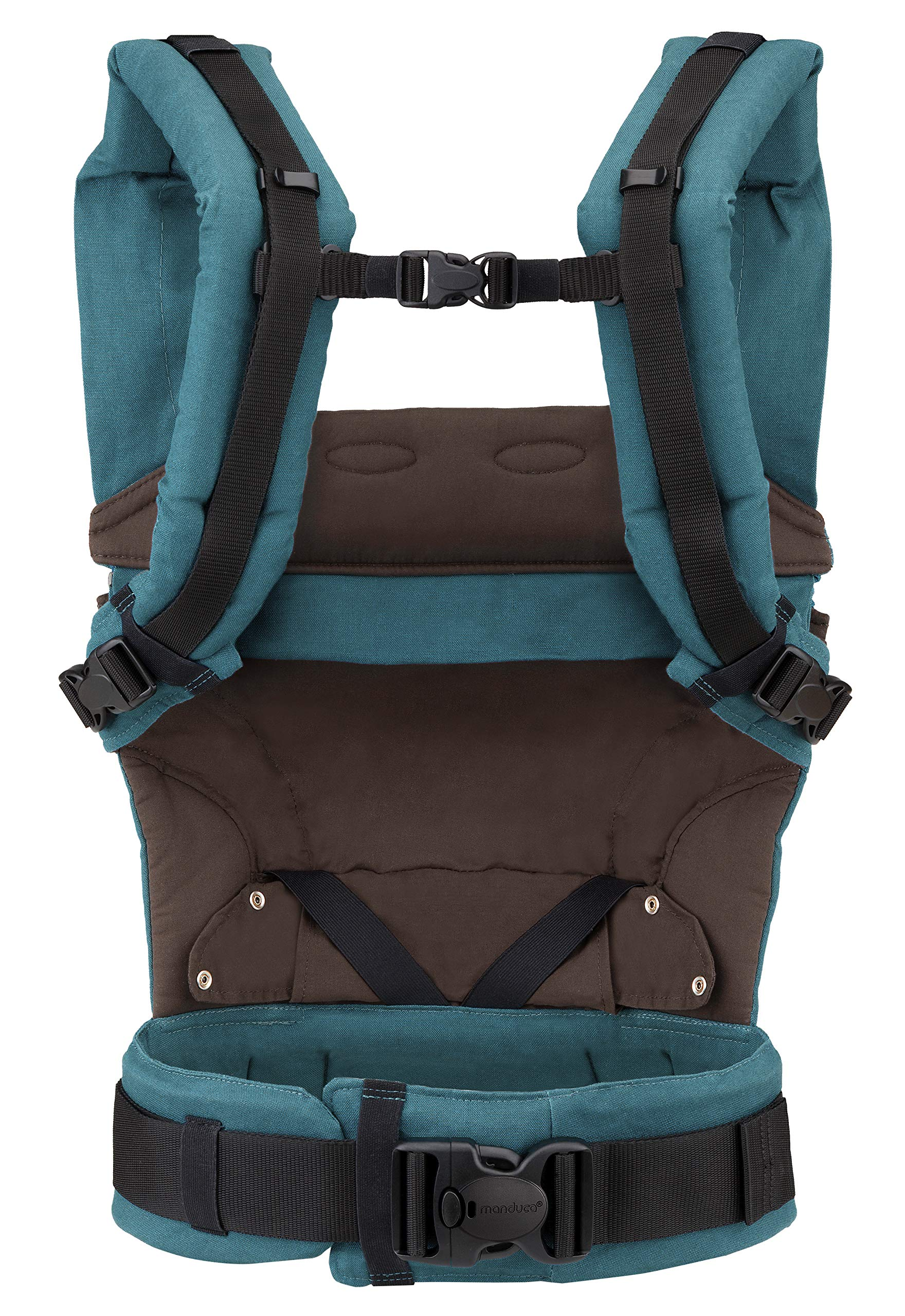 manduca First Baby Carrier > HempCotton Petrol Blue - Brown < Ergonomic Baby & Child Carrier, Soft & Sturdy Canvas (Organic Cotton & Hemp), Front, Hip & Back Carry, for Newborn to Toddlers up to 20kg Manduca manduca baby carrier First HempCotton: the original made of hemp & organic cotton with patented back extension, is already a classic. New features: Improved three-point-buckle (secure & easy to open) Integrated in every carrier: infant pouch (newborn insert), stowable headrest & sun protection for your baby, back extension (grows with your child); Optional accessories for newborns: Size-It (seat reducer) and Zip-In Ellipse Ergonomic design for men & women: Soft padded shoulder straps (multiple adjustable) & the anatomically shaped stable hipbelt (fits hips from 64cm to 140cm) ensure balanced weight distribution. No waist-belt extension needed 4