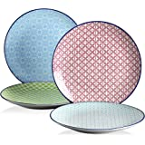 vancasso, Série Macaron, Assiette à Déssert en Porcelaine, 4 Pièces, Assiette Plate Japonaise - 22 cm