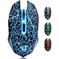 M2 Mouse Ricaricabile Wireless ,Ottico USB Gaming Mouse Silenzioso senza fili con 6 Pulsanti con LED 7 Colors per Mac…
