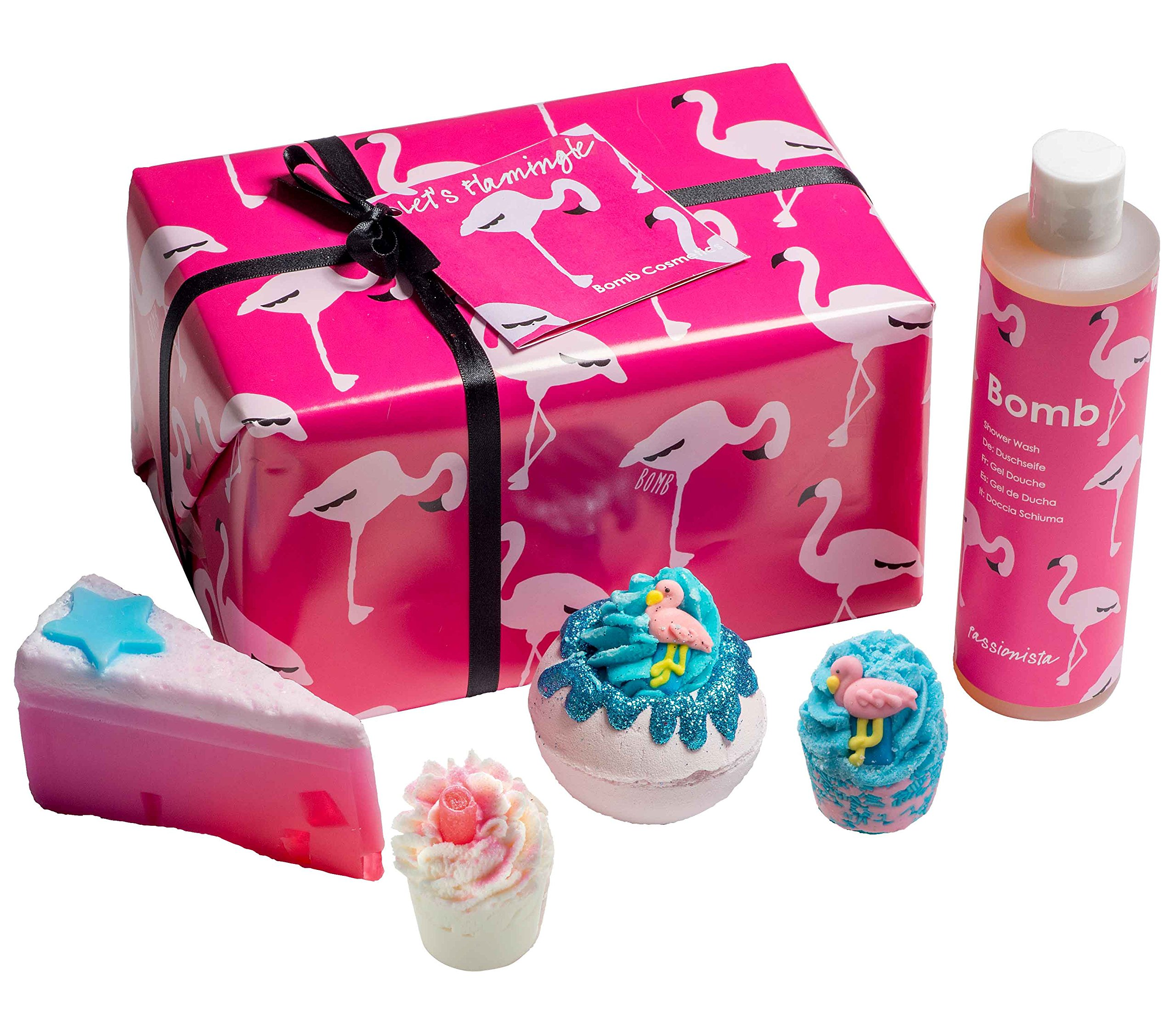 Bomb Cosmetics Let's Flamingle Handmade Wrapped Gift Pack
