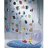 """Spirella anti-schimmel douchegordijn""""Fish Multicolor"""" antibacterieel, wasbaar, waterdicht vinyl 180x200cm"""