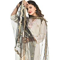 YOUTHQUAKE Embellished Plastic Mirror Net Dupatta for Womens & Girls With Half Curve Cut Design
