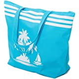 AIREE FAIREE Strandtasche Damen Schultertasche Shopper Sommer TascheVerschluss Reißverschluss Größe 50 x 40 x 16 cm Palme-Mus