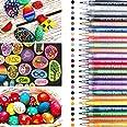 Marqueurs peinture acrylique,24 couleurs Stylos de Peinture Acrylique pour verre, céramique, pierre, bois, toile, métal, tiss