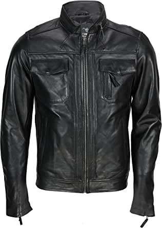 Xposed New Mens Real Leather Biker Style Racer Jacket Smart Casual Vintage Black, Retro Antiqued Brown