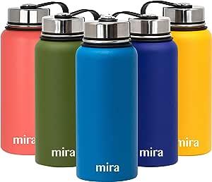 Pearl Blue Mira isotherme double paroi sous vide en acier inoxydable bouteille d/'eau environ 907.17 g 32 oz