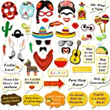 HOWAF Mexican Fiesta Photo Booth Props, Cinco de Mayo Mexicain Deguisement Accessoires Photobooth Masques Lunettes Moustaches
