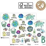 AVERY Zweckform Lettering Sticker 38 pegatinas con mensaje de medio ambiente (pegatinas en hoja A5, etiquetas de sostenibilid