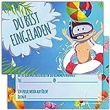 Einladungskarten für Kindergeburtstage für Jungen oder Mädchen (Badespaß, 12 Stück im Kartenset)