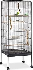 Relaxdays Vogelvoliere, Wellensittiche, Kanarien, Papageien, Rollen, Ständer, Metall, HxBxT: 146 x 54 x 54 cm, schwarz
