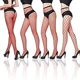 FLORA GUARD Collant a rete da donna, Sexy calze a croce, 4 paia di collant a vita alta con 4 tipi