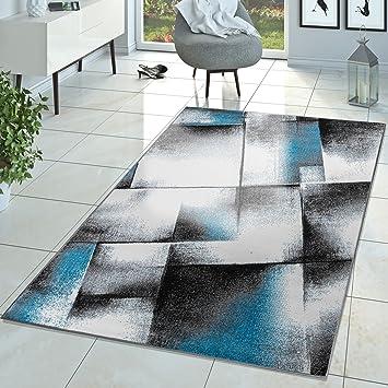 Designer Teppich Wohnzimmer Modern Kurzflor Teppich Meliert Türkis ...