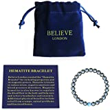 Believe London® Hematite Magnetic Therapy Bracelet with Jewellery Bag & Meaning Card | Strong Elastic | Precious Natural Ston