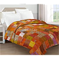 iinfinize Indian 108 x 108 King Size Traditional Floral Patchwork Kantha Quilt Orange Soft Silk Patola Good Embroidery…