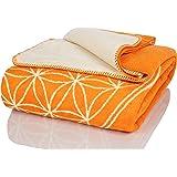 Glart - Manta XL de lana suave y gran capacidad térmica, mullida felpa para acurrucarse o cubrir el sofá, 150 x 200 cm, estam
