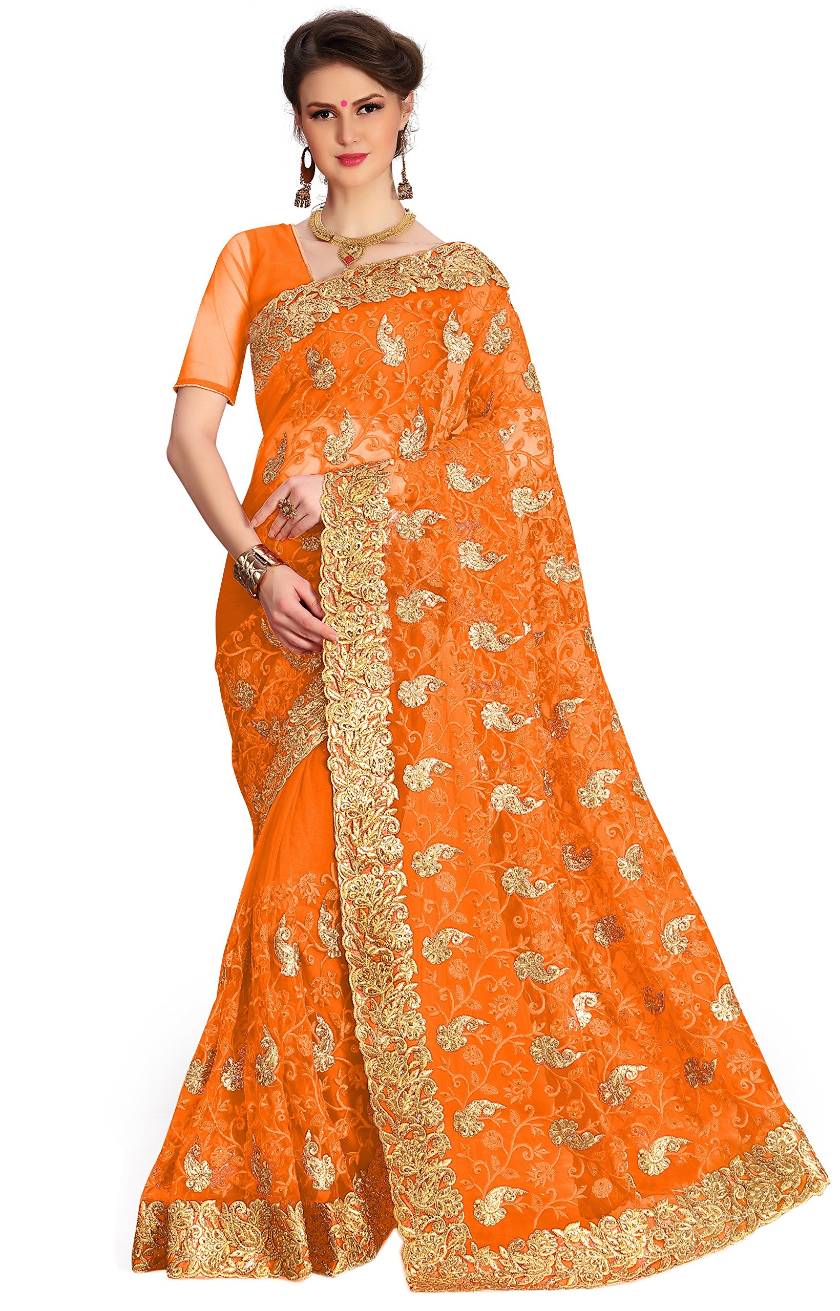 Panash Trends Women S Net Heavy Embroidery Work Saree Ujj K675 R T O