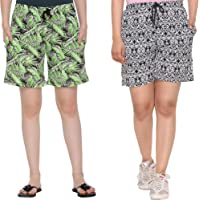 CUPID Cotton Comfortable Barmuda/Shorts for Sports, Yoga, Daily Use Gym, Night Wear, Casual Wear for Women - Combo Pack…