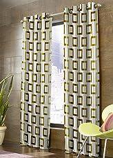 Selective Velvet Eyelet Printed Curtain Set of 2