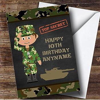 Green Boy Camo Army Personalised Childrens Birthday Card Amazon