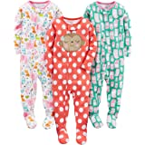 Simple Joys by Carter's Pijama de algodón con pies Ajustados Bebé-Niñas, Pack de 3