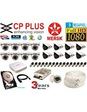MERSK CP Plus 16 Ch HD Dvr and Full HD 3MP CCTV Camera Kit with All Required Accessories Note