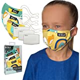 BEOLA Kids Face Mask Washable Non Medical Reusable Cotton With Valve Filter For Children Bella Boys Girls (Andrea 3 pcs)