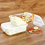 Cutting EDGE Smart Lock Borosilicate Rectangular Glass Food Container with Air Vent Lid (Set of 2, 1520ml)