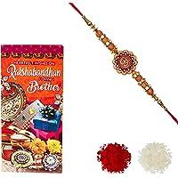 Aheli Rakhi OM Wooden Beads Rakhi for Men with Greeting Card and Roli Chawal Tilak (Gold) (RCA04)