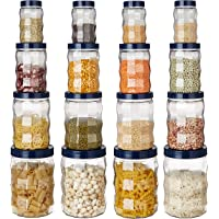 Amazon Brand - Solimo Plastic Storage Container Set (16 pieces, Edge Pattern, Royal Blue)