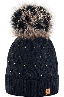 0d60eb02a1a morefaz Femme Beanie Cristaux Chapeau Hat Crystal Grande Pom Pom Bonnet  d hiver Chaud Doublure