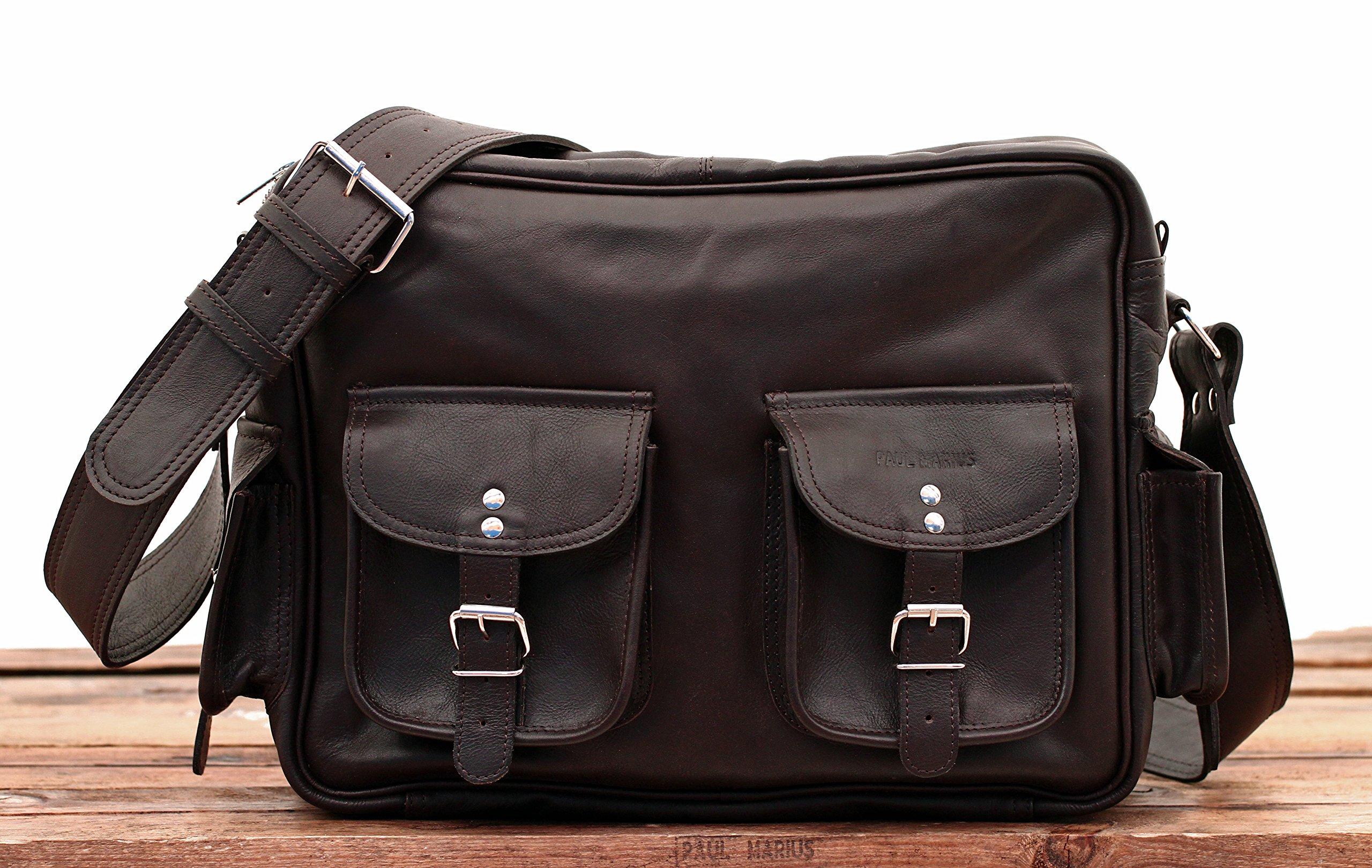 91ifyP7coeL - PAUL MARIUS LE MULTIPOCHES INDUS, Bolso bandolera de cuero, estilo vintage, bandolera de cuero, bolso con bolsillos…