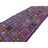 PUSHPACRAFTS Chemin de table vintage brodé à la main - Motif sari indien - Coton - Style bohème indien - Décoration murale