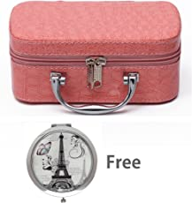 Store2508 Small Travel Vanity Cosmetic Toiletry Makeup Bag Box Organiser With Magnifying Compact Makeup Mirror (Pink)