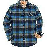 Dubinik® Camisa de Franela de Cuadros de Manga Larga para Hombre Camisa Casual con Botones de Corte Regular