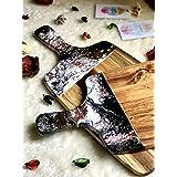 Tabla de cortar de resina negra, blanca y cobre con efecto mármol 42 o 32 cm