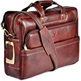 WILDHORN Classic Leather 16 inch Laptop Messenger Bag for Men I Office Bags I Travel Bags I Carry Handles with Adjustable Str