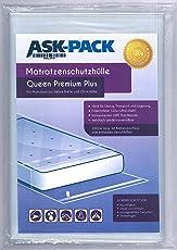 ASK Pack Premium Matratzenschutzhülle Queen für 160cm Breite/bis 25cm Hohe/bis 220cm Lange Matratze - mit vielfach wiederverwendbarem KLEBEVERSCHLUSS - Ultra Stark 120µ