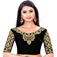 ANSAR Women's Multicolor Floral Neck Heavy Stone Thread Embroidery Work Readymade Blouse for Saree